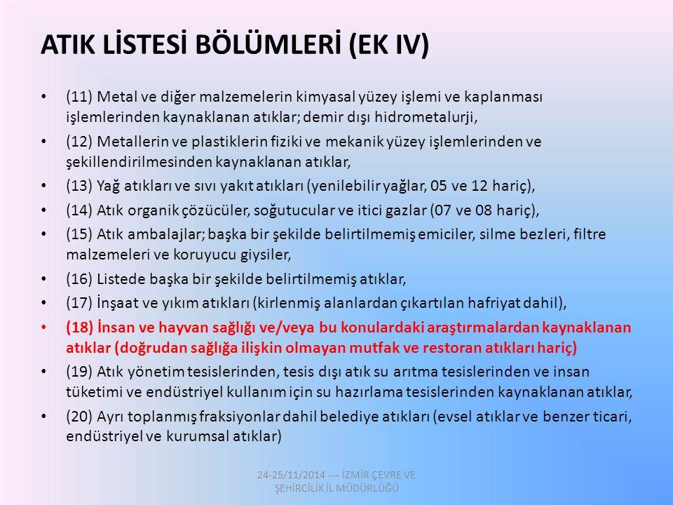ATIK LİSTESİ BÖLÜMLERİ (EK IV)