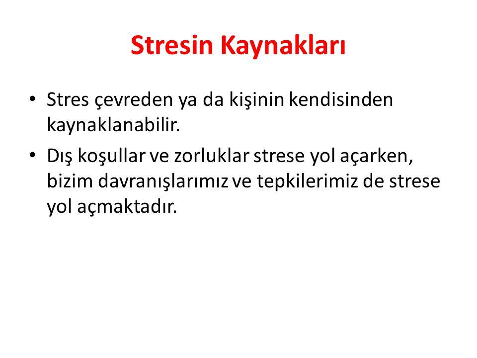 Stresin Kaynakları Stres çevreden ya da kişinin kendisinden kaynaklanabilir.
