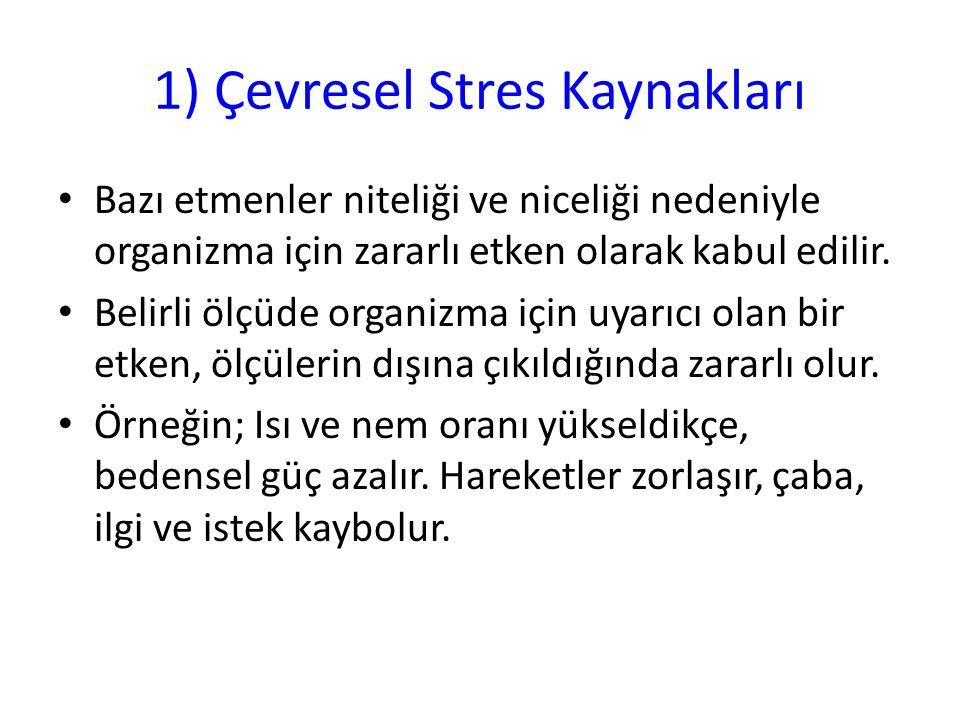 1) Çevresel Stres Kaynakları