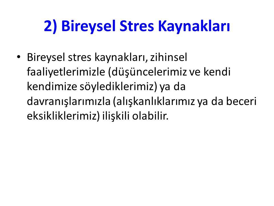 2) Bireysel Stres Kaynakları