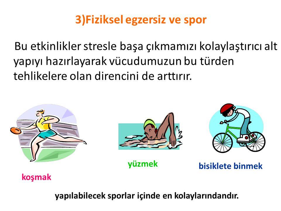 3)Fiziksel egzersiz ve spor