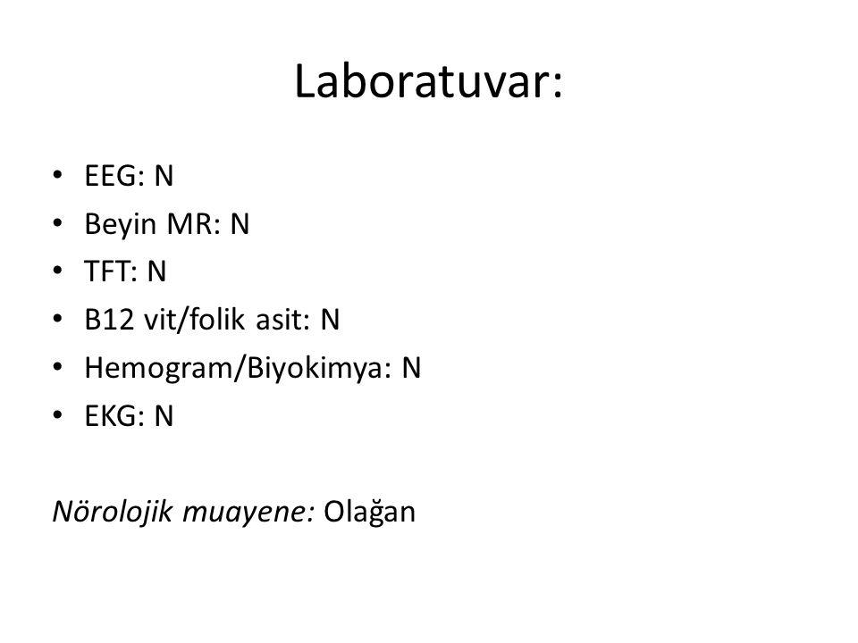 Laboratuvar: EEG: N Beyin MR: N TFT: N B12 vit/folik asit: N