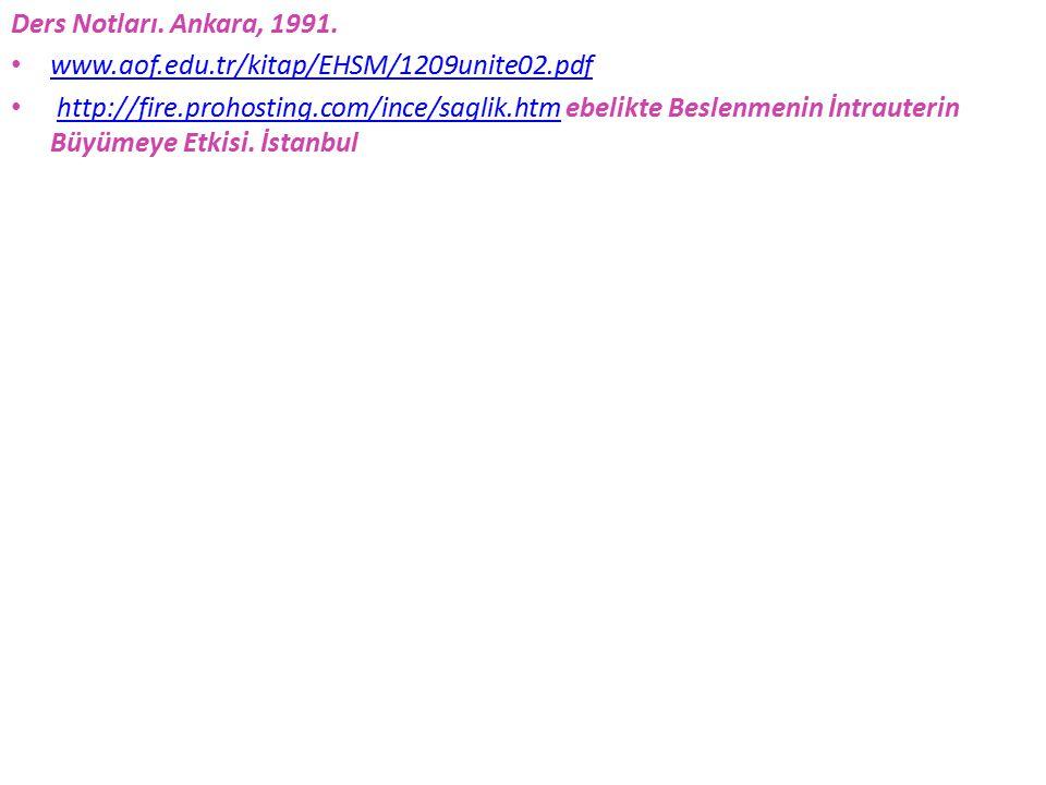 Ders Notları. Ankara, 1991. www.aof.edu.tr/kitap/EHSM/1209unite02.pdf.