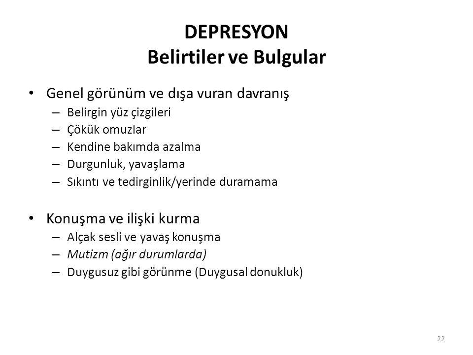 DEPRESYON Belirtiler ve Bulgular