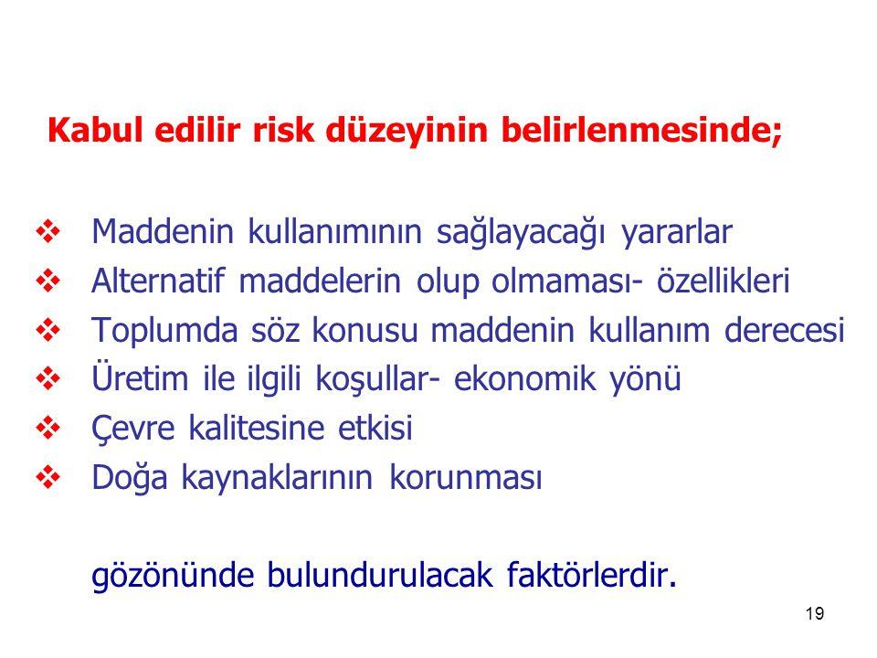 Kabul edilir risk düzeyinin belirlenmesinde;