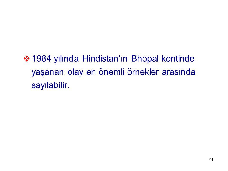 1984 yılında Hindistan'ın Bhopal kentinde yaşanan olay en önemli örnekler arasında sayılabilir.