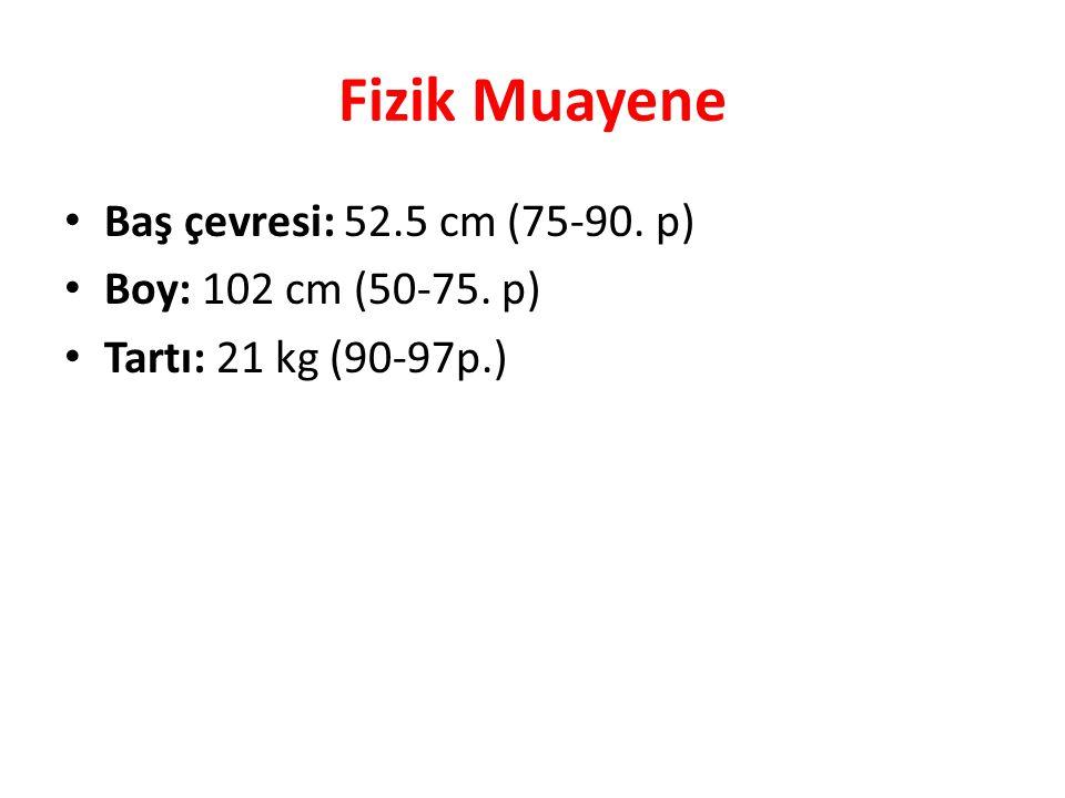 Fizik Muayene Baş çevresi: 52.5 cm (75-90. p) Boy: 102 cm (50-75. p)