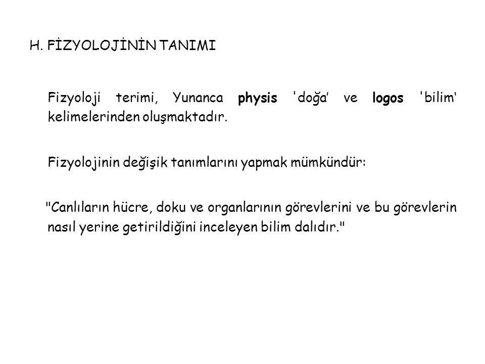 H. FİZYOLOJİNİN TANIMI Fizyoloji terimi, Yunanca physis doğa' ve logos bilim' kelimelerinden oluşmaktadır.