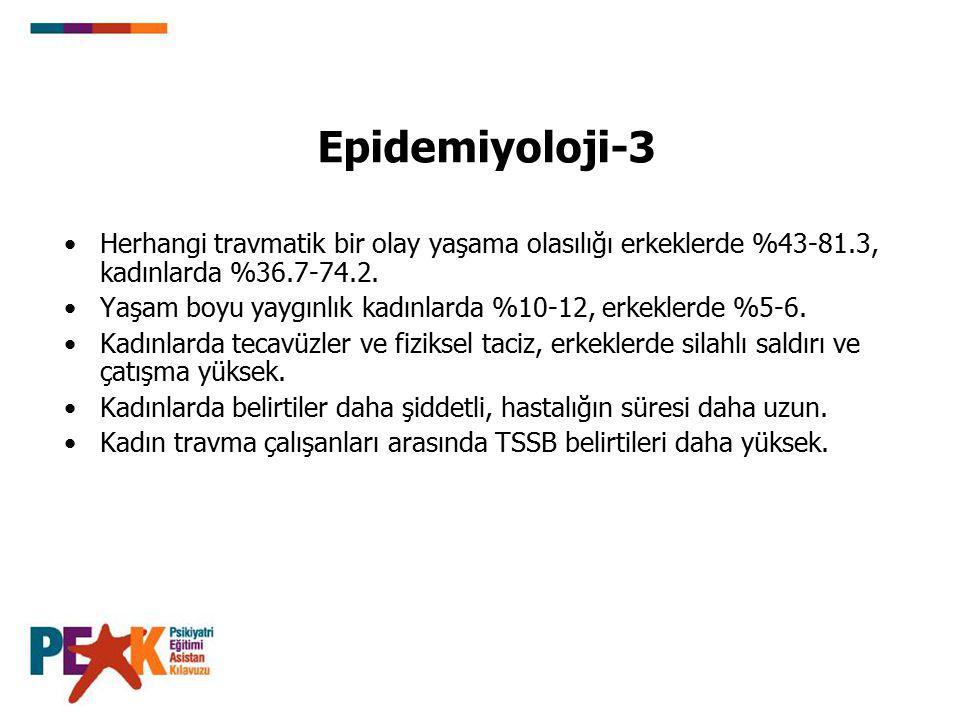 Epidemiyoloji-3 Herhangi travmatik bir olay yaşama olasılığı erkeklerde %43-81.3, kadınlarda %36.7-74.2.