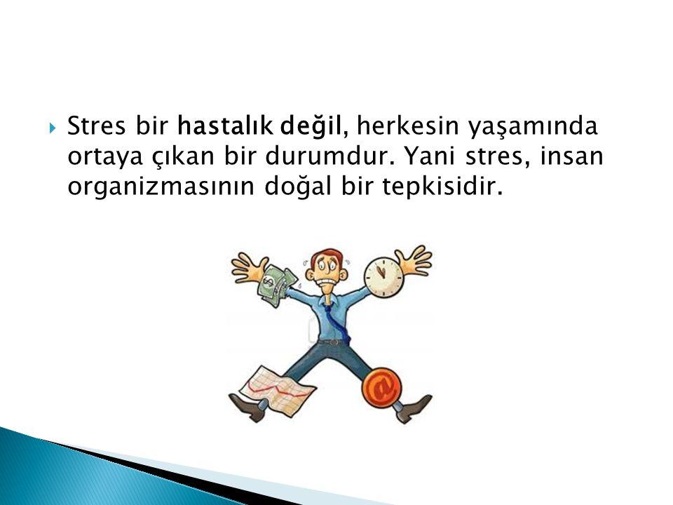 Stres bir hastalık değil, herkesin yaşamında ortaya çıkan bir durumdur
