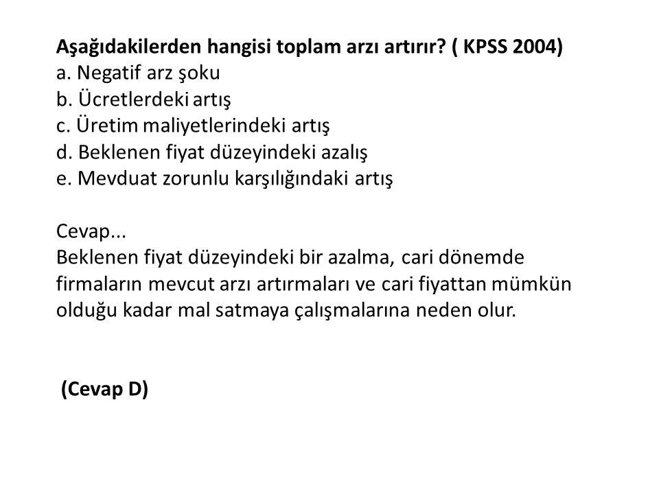 Aşağıdakilerden hangisi toplam arzı artırır ( KPSS 2004)
