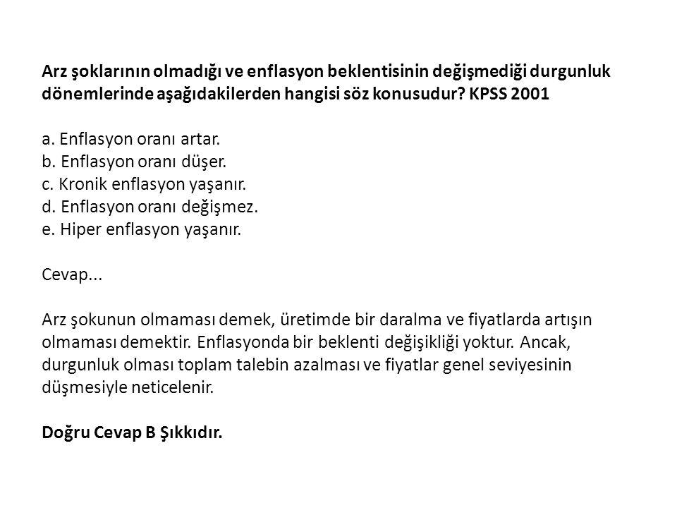 Arz şoklarının olmadığı ve enflasyon beklentisinin değişmediği durgunluk dönemlerinde aşağıdakilerden hangisi söz konusudur KPSS 2001