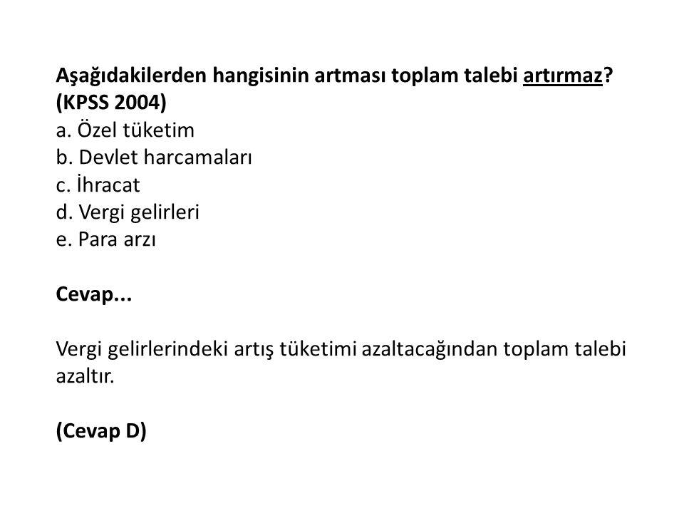 Aşağıdakilerden hangisinin artması toplam talebi artırmaz (KPSS 2004)