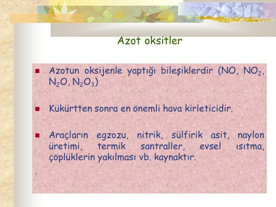 Azot oksitler Azotun oksijenle yaptığı bileşiklerdir (NO, NO2, N2O, N2O3) Kükürtten sonra en önemli hava kirleticidir.
