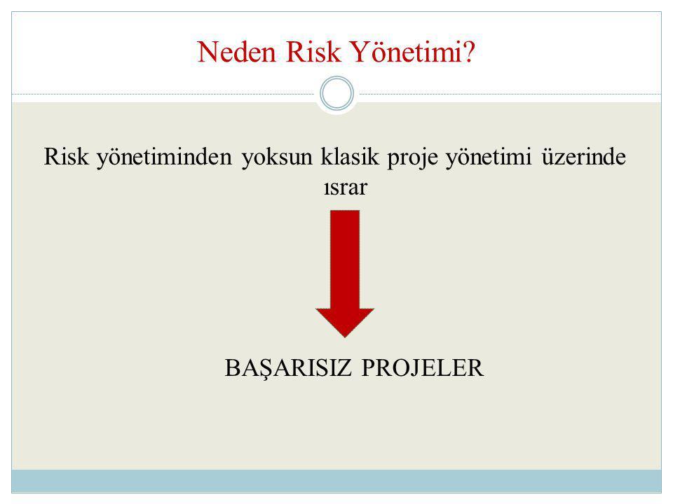 Risk yönetiminden yoksun klasik proje yönetimi üzerinde ısrar