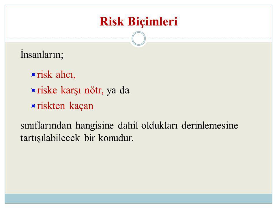 Risk Biçimleri risk alıcı, riske karşı nötr, ya da riskten kaçan
