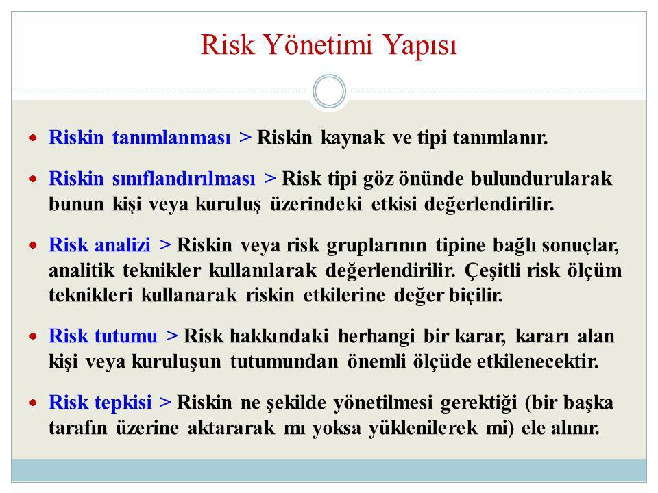 Risk Yönetimi Yapısı Riskin tanımlanması > Riskin kaynak ve tipi tanımlanır.