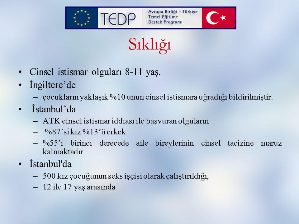 Sıklığı Cinsel istismar olguları 8-11 yaş. İngiltere'de İstanbul'da