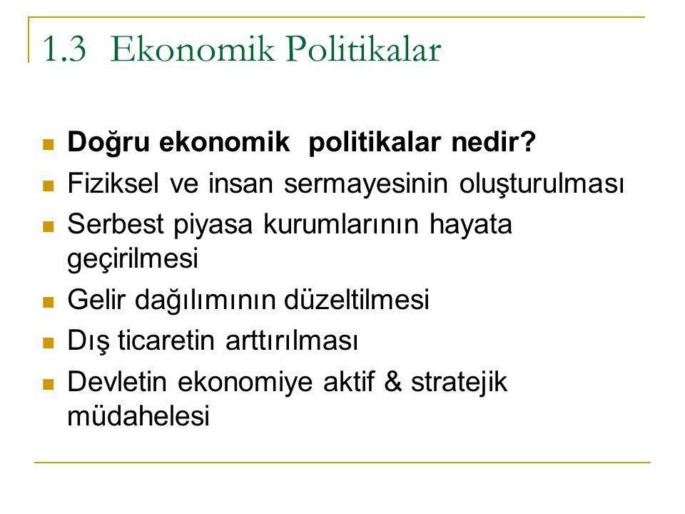 1.3 Ekonomik Politikalar Doğru ekonomik politikalar nedir