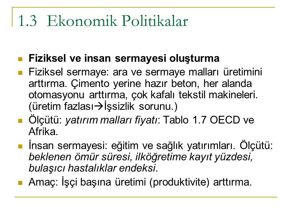 1.3 Ekonomik Politikalar Fiziksel ve insan sermayesi oluşturma