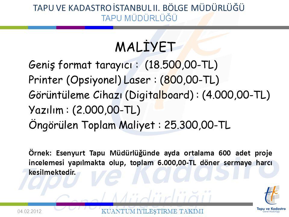 MALİYET Geniş format tarayıcı : (18.500,00-TL)