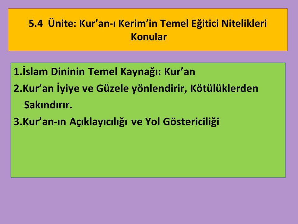 5.4 Ünite: Kur'an-ı Kerim'in Temel Eğitici Nitelikleri Konular