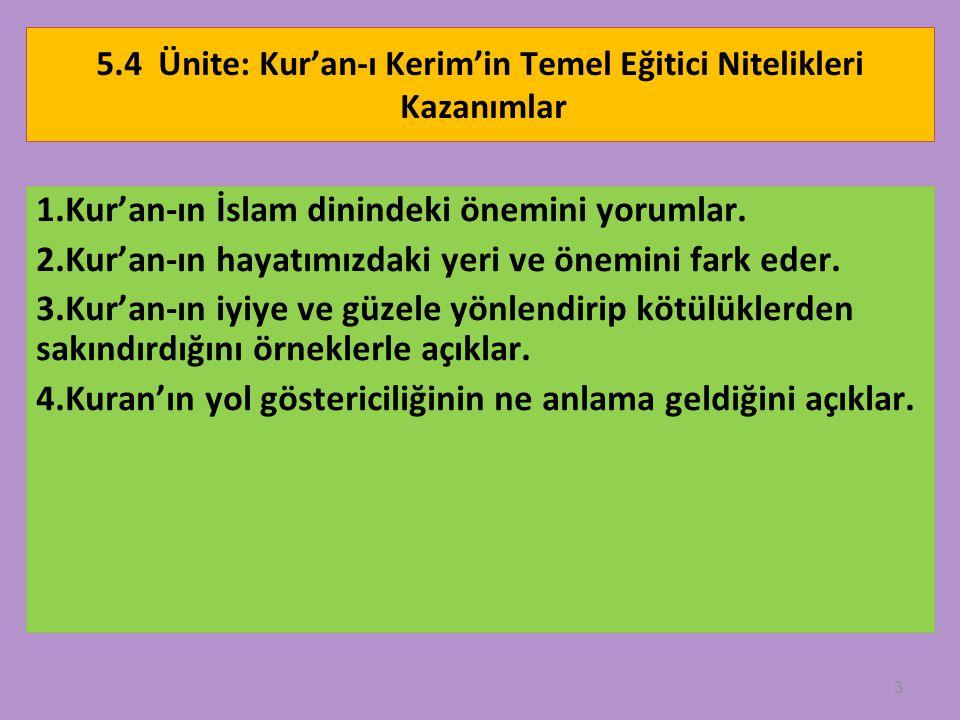 5.4 Ünite: Kur'an-ı Kerim'in Temel Eğitici Nitelikleri Kazanımlar