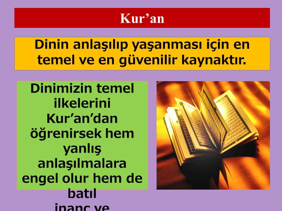 Kur'an Dinin anlaşılıp yaşanması için en temel ve en güvenilir kaynaktır. Dinimizin temel.
