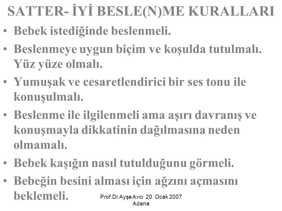 SATTER- İYİ BESLE(N)ME KURALLARI
