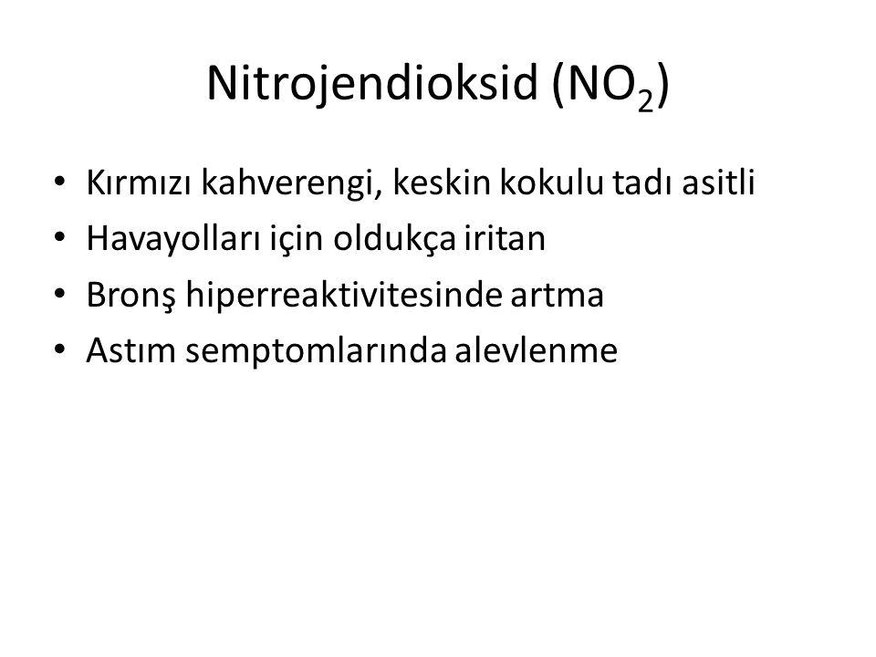Nitrojendioksid (NO2) Kırmızı kahverengi, keskin kokulu tadı asitli