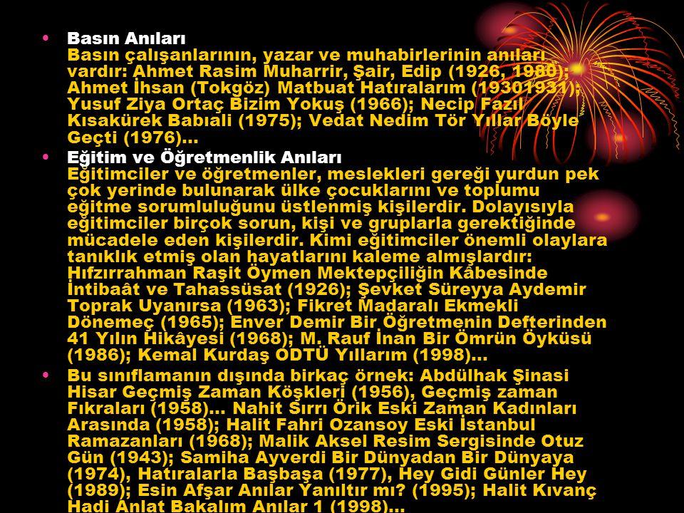 Basın Anıları Basın çalışanlarının, yazar ve muhabirlerinin anıları vardır: Ahmet Rasim Muharrir, Şair, Edip (1926, 1980); Ahmet İhsan (Tokgöz) Matbuat Hatıralarım (19301931); Yusuf Ziya Ortaç Bizim Yokuş (1966); Necip Fazıl Kısakürek Babıali (1975); Vedat Nedim Tör Yıllar Böyle Geçti (1976)...
