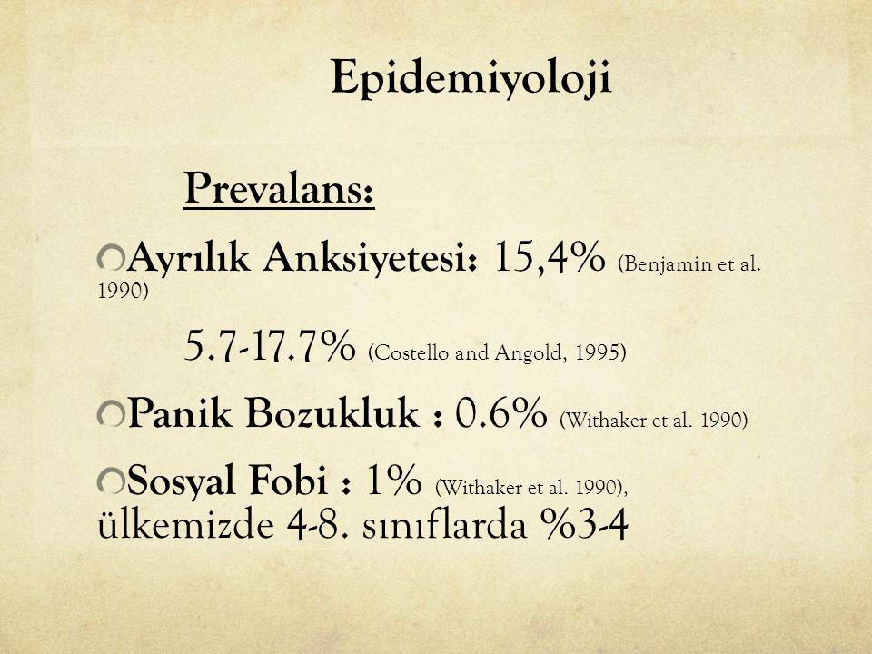 Epidemiyoloji Ayrılık Anksiyetesi: 15,4% (Benjamin et al. 1990)