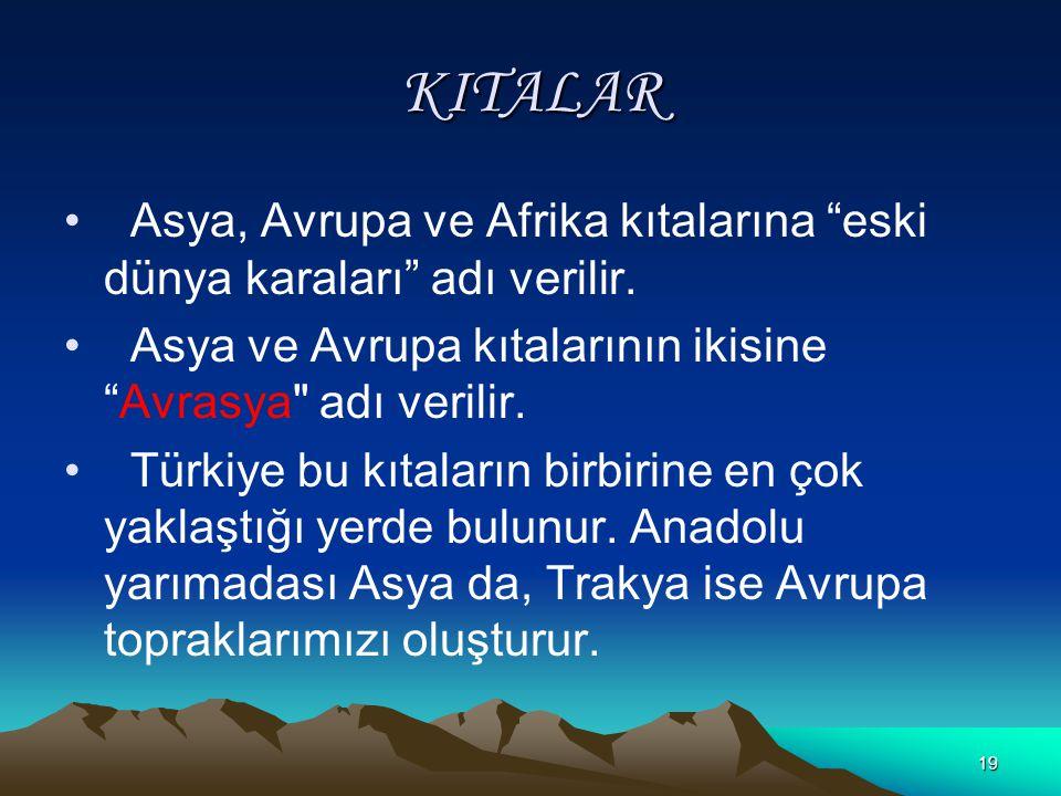 KITALAR Asya, Avrupa ve Afrika kıtalarına eski dünya karaları adı verilir. Asya ve Avrupa kıtalarının ikisine Avrasya adı verilir.