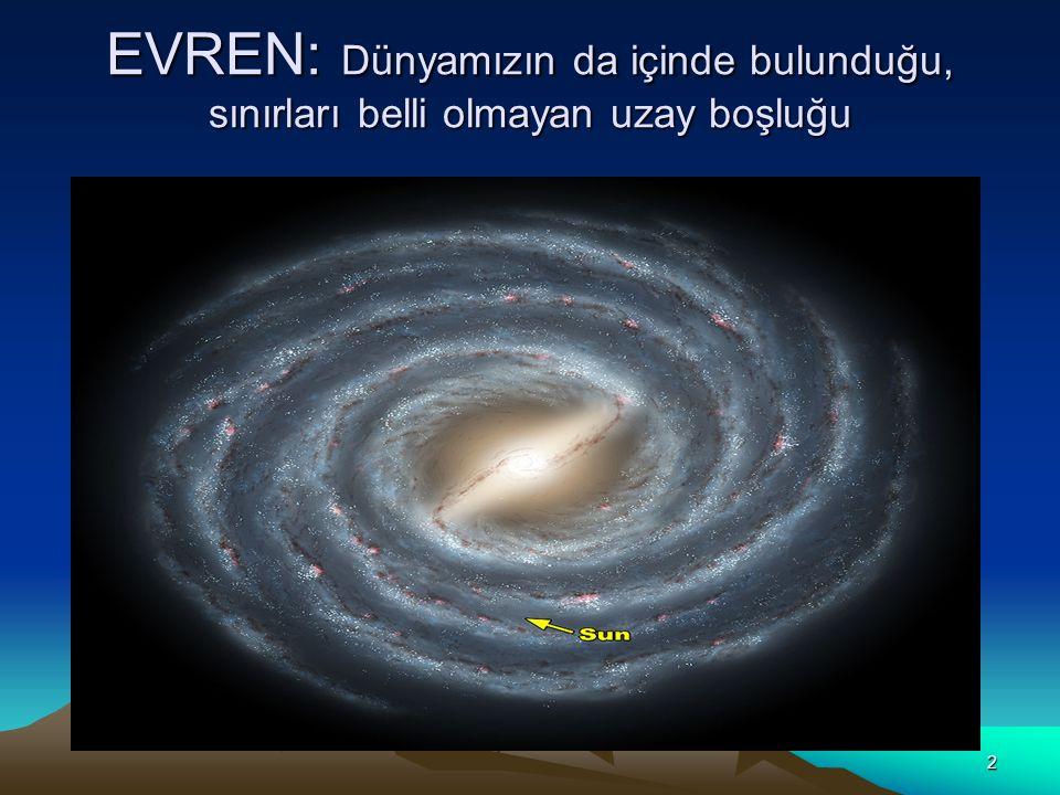 EVREN: Dünyamızın da içinde bulunduğu, sınırları belli olmayan uzay boşluğu