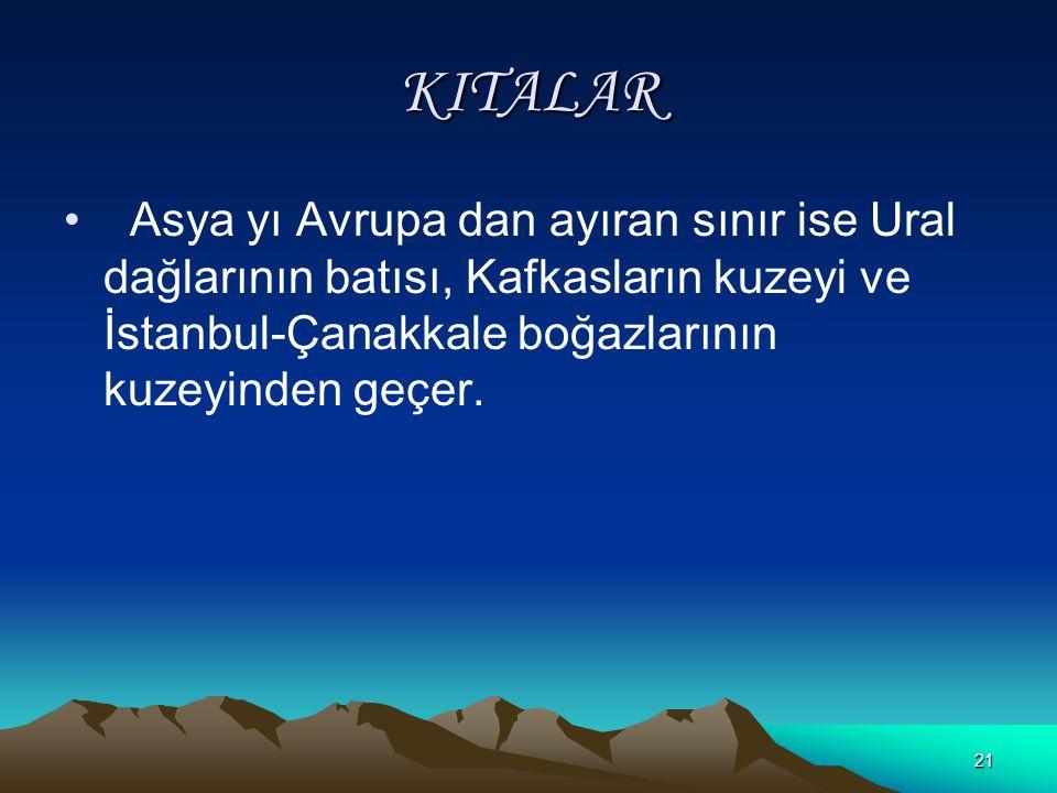 KITALAR Asya yı Avrupa dan ayıran sınır ise Ural dağlarının batısı, Kafkasların kuzeyi ve İstanbul-Çanakkale boğazlarının kuzeyinden geçer.