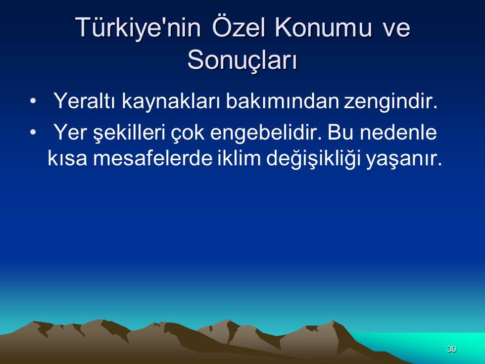 Türkiye nin Özel Konumu ve Sonuçları