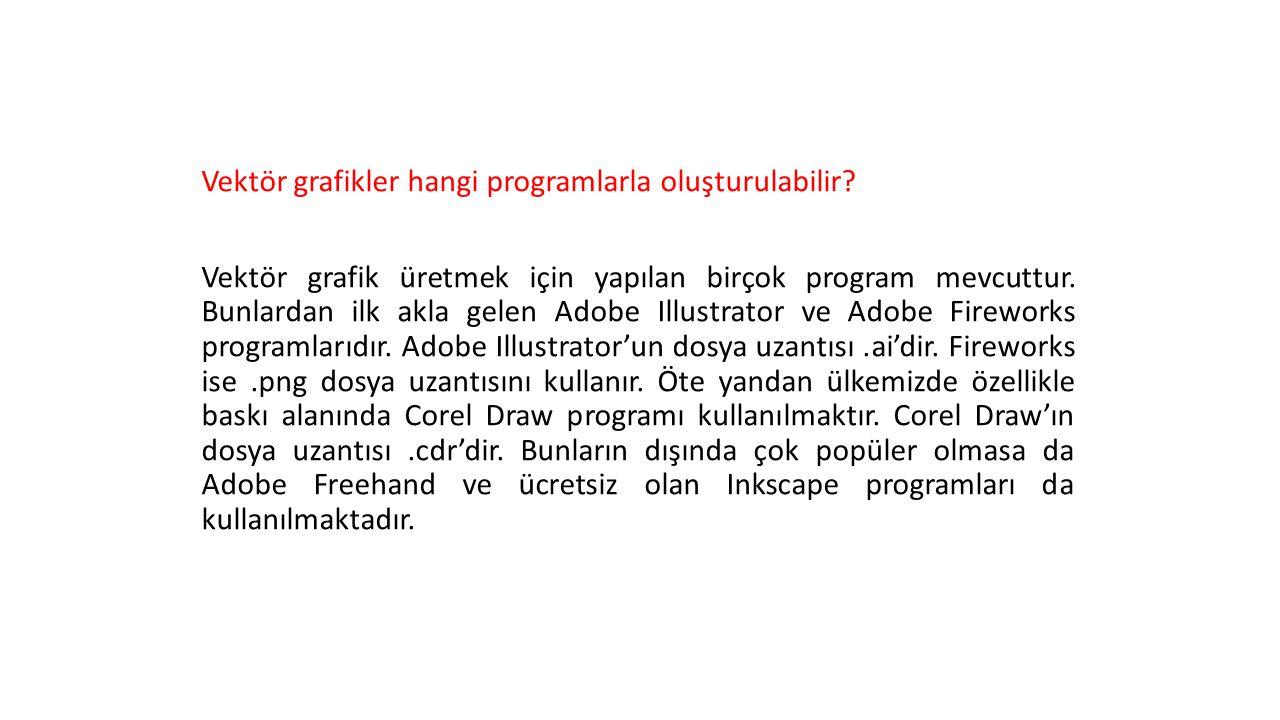 Vektör grafikler hangi programlarla oluşturulabilir