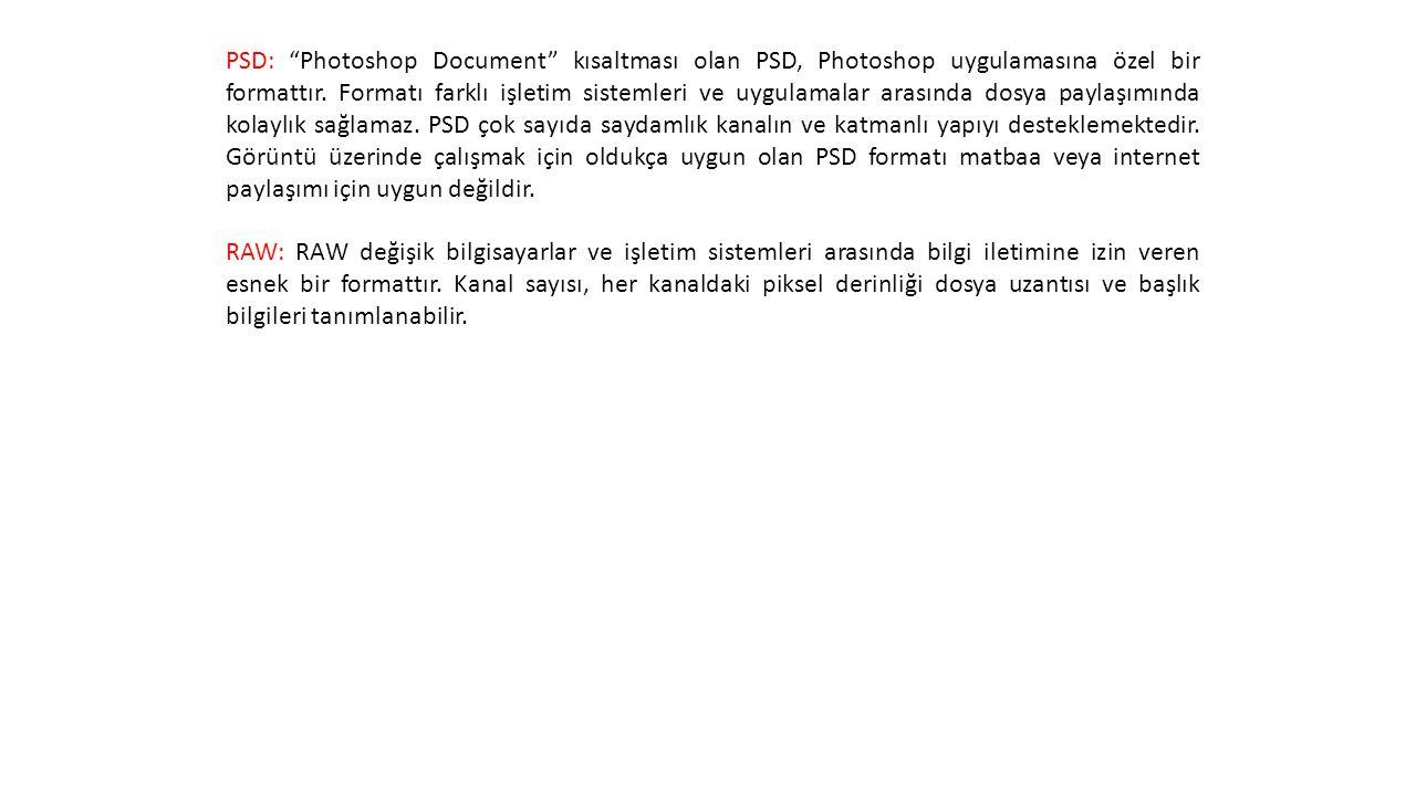 PSD: Photoshop Document kısaltması olan PSD, Photoshop uygulamasına özel bir formattır. Formatı farklı işletim sistemleri ve uygulamalar arasında dosya paylaşımında kolaylık sağlamaz. PSD çok sayıda saydamlık kanalın ve katmanlı yapıyı desteklemektedir. Görüntü üzerinde çalışmak için oldukça uygun olan PSD formatı matbaa veya internet paylaşımı için uygun değildir.
