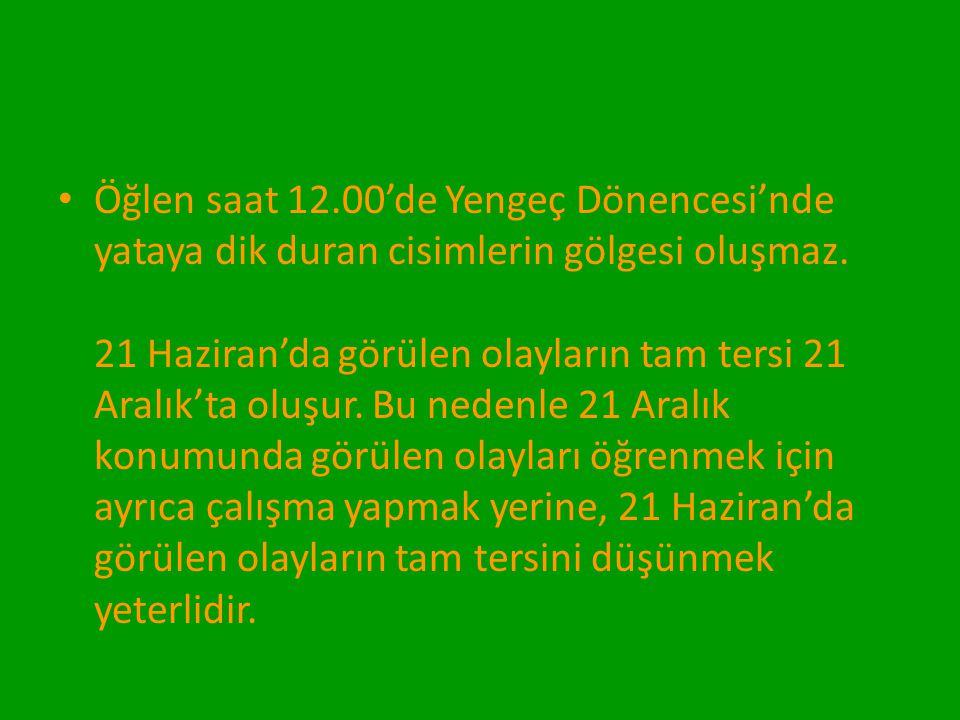 Öğlen saat 12.00'de Yengeç Dönencesi'nde yataya dik duran cisimlerin gölgesi oluşmaz. 21 Haziran'da görülen olayların tam tersi 21 Aralık'ta oluşur.