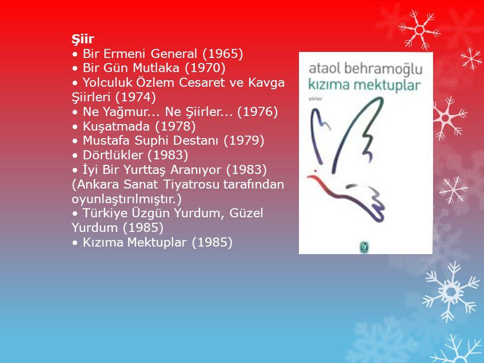 Şiir • Bir Ermeni General (1965) • Bir Gün Mutlaka (1970) • Yolculuk Özlem Cesaret ve Kavga Şiirleri (1974) • Ne Yağmur...