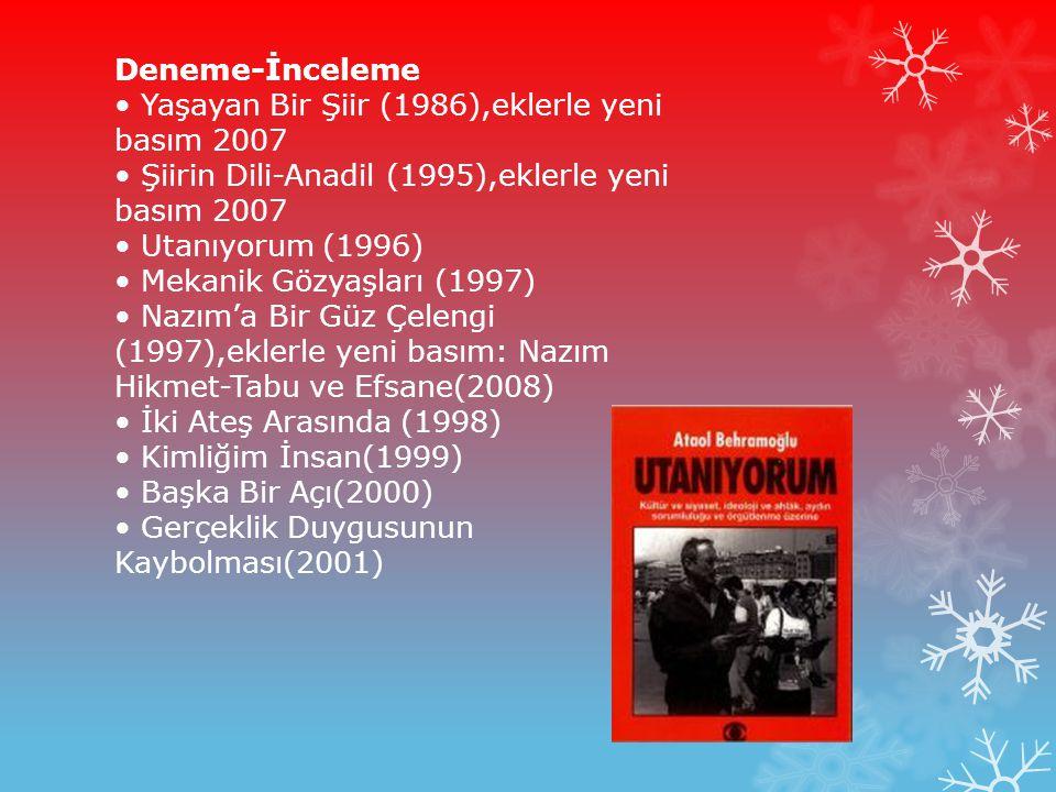 Deneme-İnceleme • Yaşayan Bir Şiir (1986),eklerle yeni basım 2007 • Şiirin Dili-Anadil (1995),eklerle yeni basım 2007 • Utanıyorum (1996) • Mekanik Gözyaşları (1997) • Nazım'a Bir Güz Çelengi (1997),eklerle yeni basım: Nazım Hikmet-Tabu ve Efsane(2008) • İki Ateş Arasında (1998) • Kimliğim İnsan(1999) • Başka Bir Açı(2000) • Gerçeklik Duygusunun Kaybolması(2001)