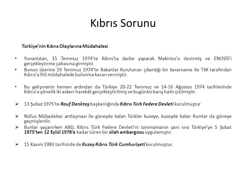 Kıbrıs Sorunu Türkiye'nin Kıbrıs Olaylarına Müdahalesi