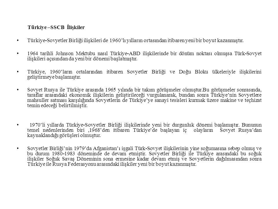 Türkiye –SSCB İlişkiler