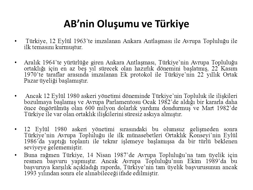 AB'nin Oluşumu ve Türkiye