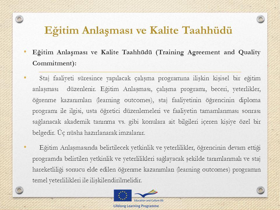 Eğitim Anlaşması ve Kalite Taahhüdü