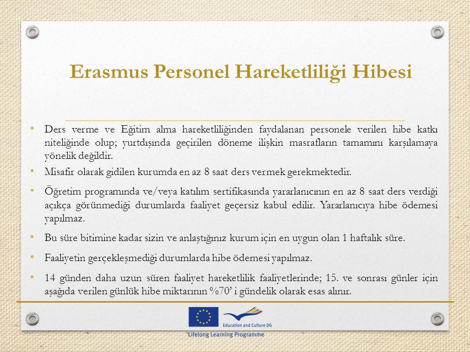 Erasmus Personel Hareketliliği Hibesi