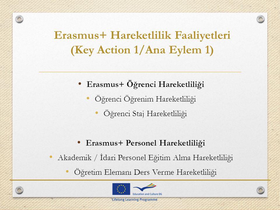 Erasmus+ Hareketlilik Faaliyetleri (Key Action 1/Ana Eylem 1)