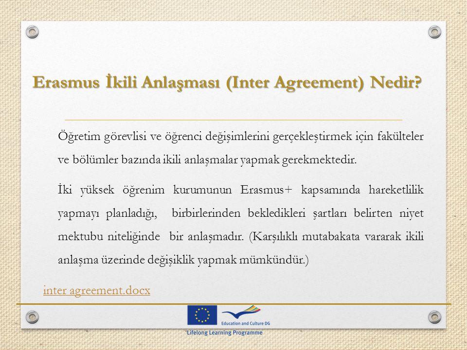 Erasmus İkili Anlaşması (Inter Agreement) Nedir