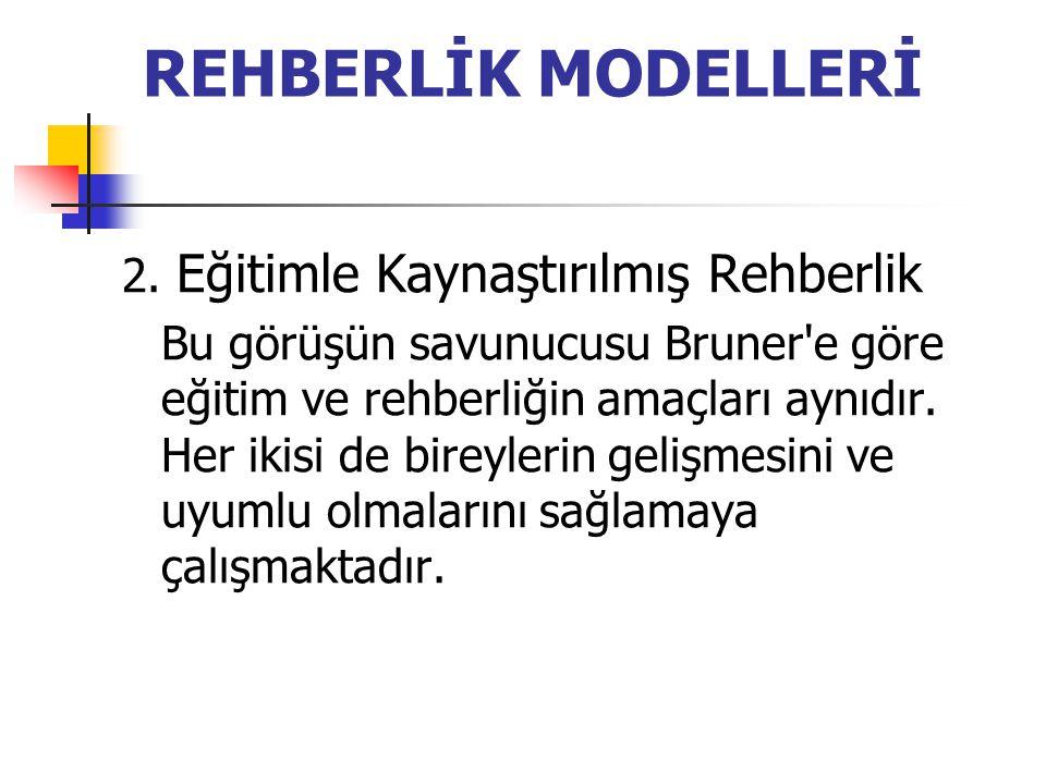 REHBERLİK MODELLERİ 2. Eğitimle Kaynaştırılmış Rehberlik