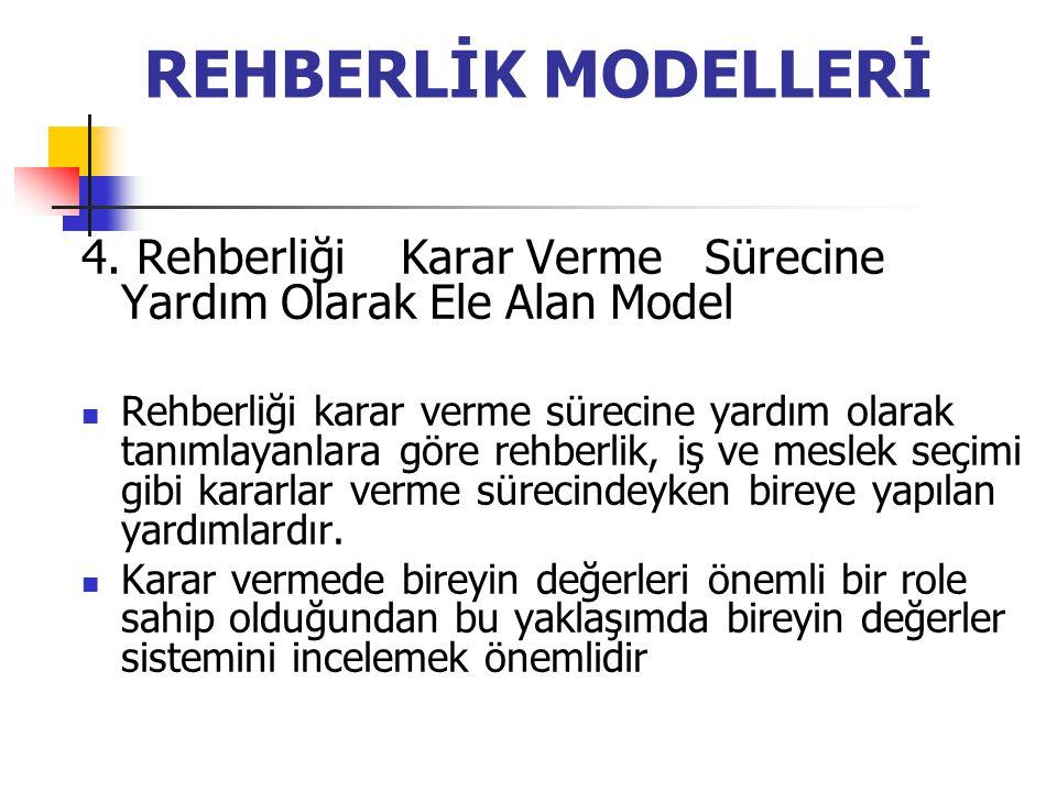 REHBERLİK MODELLERİ 4. Rehberliği Karar Verme Sürecine Yardım Olarak Ele Alan Model.
